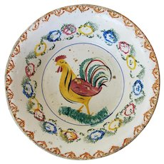 Portuguese Antique Hand Painted Large Deep Plate / Dish depicting a Rooster