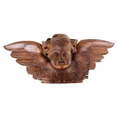 Portuguese Antique Wooden Cherub, Baroque Angel, 18th Century, Sacred Sculpture