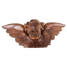 Portuguese Antique Wooden Cherub, Baroque Angel, 18th Century, Sacred Sculpture
