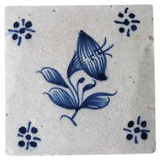 Portuguese Baroque Flower Tile, 18th Century, Antique, Tin-glazed pottery