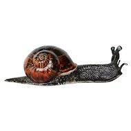 "Antique Bordallo Pinheiro, Palissy Ware Large Snail, 16.5"" Wide, Earthenware"