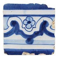 18th Century Antique Portuguese Rocaille Flower Tile