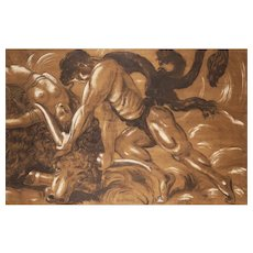 (1939) Quo Vadis, The Fight between Ursus and the Bull, Mixed Media on Wood