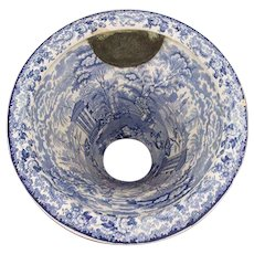 RARE English Transferware Victorian Toilet Bowl in White and Blue, 19th Century