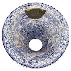 RARE English Transferware Victorian Toilet Bowl in White and Blue, 19th Century