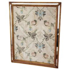 Portuguese Antique 18th Century Pomegranates Silk Embroidery Fragment Framed