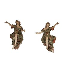 Rare 18th Century Life-Size Pair or Baroque Angels Welcoming Us to Heaven, Portuguese