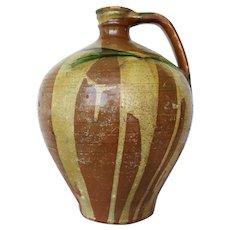 Rare 19th Century, Portuguese Jug with Handle, Tin-Glazed Earthenware, Pottery