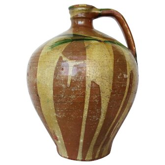 Rare 19th Century, Portuguese Jug with Handle, Tin-Glazed Earthenware, Pottery