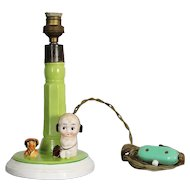 Hummel & Goebel Porcelain Kid and Dog Table Lamp, Crown Mark