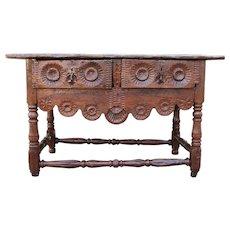Rare and Original Antique Portuguese 17th Century Refectory Console Table