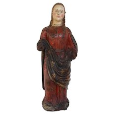 Indo-Portuguese Saint Barbara, Hand Carved Polychrome Wooden Statue, 16th Century