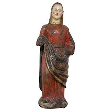 Saint Barbara, Polychrome Wood Sculpture, 16th Century, Italian