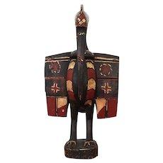 Vintage Senufo Bird (Hornbill) Statue, Ivory Coast, Wood Carved
