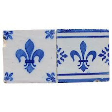 Antique Set of 2 Fleur De Lis Tiles, Portuguese, Tin-glazed Pottery, Earthenware