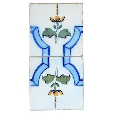 Set of 2 Tiles with Flowers and Ribbons, Portuguese, early 20th Century