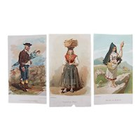 Early 20th Century, Set of 3 Antique Prints of Portuguese Costumes, one from Raphael Bordallo Pinheiro