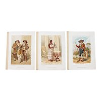 Early 20th Century, Set of 3 Antique Prints of Portuguese Costumes