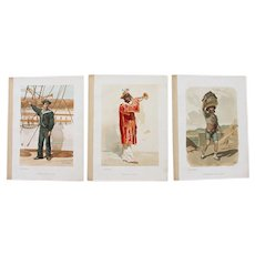 Early 20th Century, Set of 3 Antique Prints of Portuguese Costumes, one from Roque Gameiro