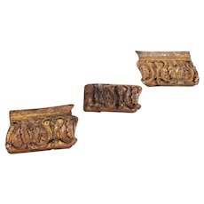 Original 18th Century Portuguese Baroque / Set of 3 Altar Fragments of Rococo Wood Carved Gilt, Religious