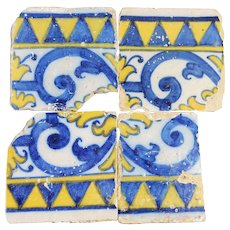 Set of 4 Portuguese Floral and Geometric Tiles, 17th Century, Baroque, Glazed Ceramic