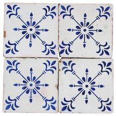 Set of 4 Art Deco Portuguese Blue Flower Tiles