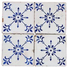 Set of 4 Original Art Deco Portuguese early 20th Century Blue Flower Tiles