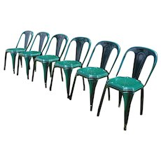Set of 6 Vintage Tolix French Garden Metal Chairs / Bistro French Chairs
