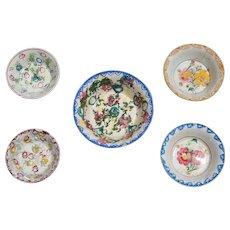 19th Century Antique Portuguese Set of Five Spongeware Bowls, Earthenware
