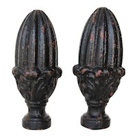 Set of Two Cast Iron Artichoke Finials, 19th Century Antique