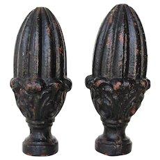 Set of Two Cast Iron Artichoke Finials, 19th Century Antique