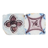 Set of Two Floral and Geometric Baroque Tiles, Portuguese, 18th Century, Earthenware