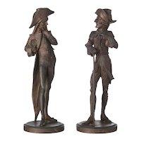 19th Century, Set of Two Continental Gentleman's Figures, Spelter Sculptures