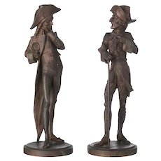 19th Century, Set of Two Continental Gentleman's Figures, Spelter Sculptures