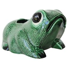 Stunning Large Vintage Hobnail Frog Planter in the style of Jean Roger