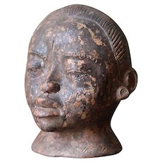 Terracotta Woman Head, African Tribe, Early 20th Century