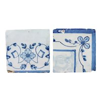 18th Century Set of Two Baroque Tiles depicting Flowers