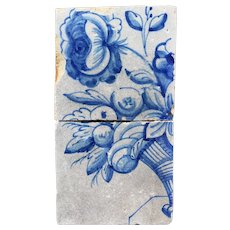 18th Century Set of Two Baroque Tiles depicting Flowers and Fruits