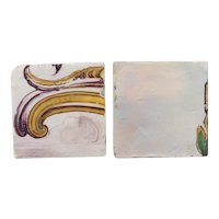 18th Century Set of Two Baroque Rocaille White Tiles, Portuguese