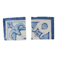 18th Century Antique Set of Two Ribbon Baroque Tiles, Portuguese