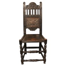 "Very Rare 17th Century Chair with the Motto: ""Crescit Sub Pondere Virtus"" (Virtue Increases Under Ever Oppression), English"