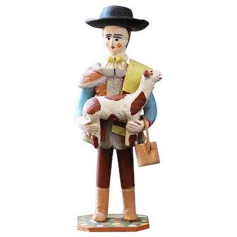 Vintage Doll Clay Folk Art Portuguese, Shepherd Carrying a Baby Sheep