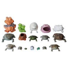 Vintage Frog Collection, Lot of 17 + 1 Frog Planter, some of them Bordalo Pinheiro Frog's