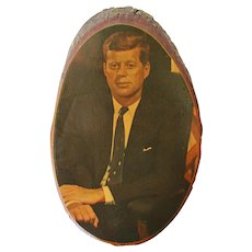 Vintage John F. Kennedy Wood Wall Plaque, Circa 1960, Historical Memorabilia