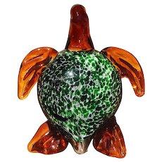 Vintage Murano Glass Turtle Figurine, Mid-Century Italian