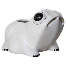 Large Vintage Hobnail Frog Planter in the style of Jean Roger