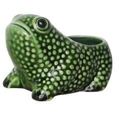 Vintage Portuguese Hobnail Frog Planter in the style of Jean Roger