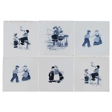 Vintage Set of 6 Delft Tiles depicting Kids Playing, Tin-Glazed Earthenware