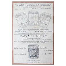 "Original Portuguese Antique Print Ad: ""Sardines in Pure Olive Oil"" Framed"