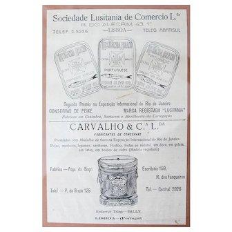 """Portuguese Vintage """"Sardines in Pure Olive Oil"""" Poster Framed Under Glass"""